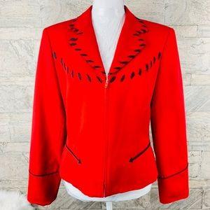 Hairston Roberson Red & Black Wool Jacket Size 8